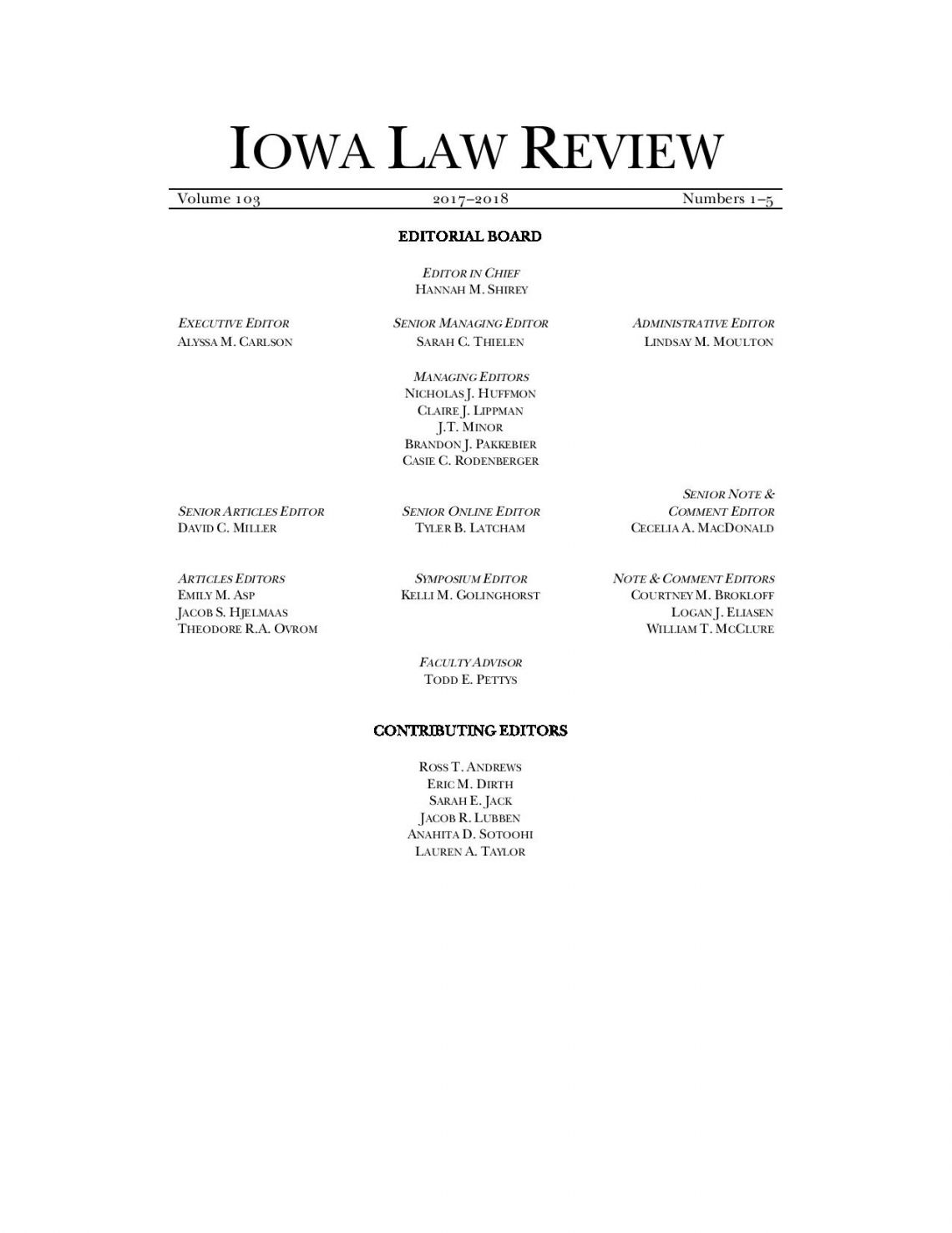 Latest Editorial Board, use this link for a PDF version